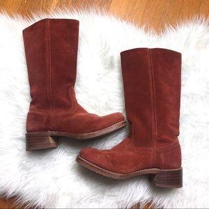 Frye | Vintage Rust Suede Block Heel Tall Boot 9.5